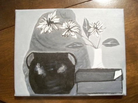 Monochrome acrylic still-life by Barbara Mattio