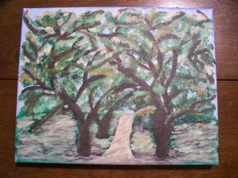 Oak Alley Plantation, NO; Acrylic on stretched canvas;  By Barbara Mattio