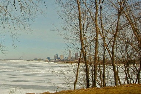 Cleveland skyland from Huntington Beach, west of the city.Photograph cpoyrighted by Barbara Mattio 2013