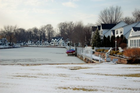Since Vermillion sits on Lake Erie, there are many streets but some people have waterways which freeze in winter.