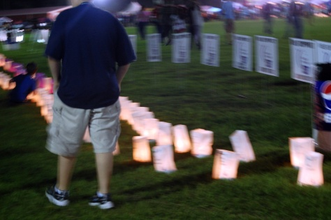 At dusk, they lit the luminaries and it was very moving