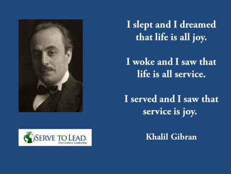Gibran's words on service.