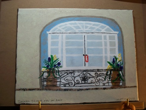 Acrylic painting. Jackson Square, French Quarter Painting done and Copyrighted 2009