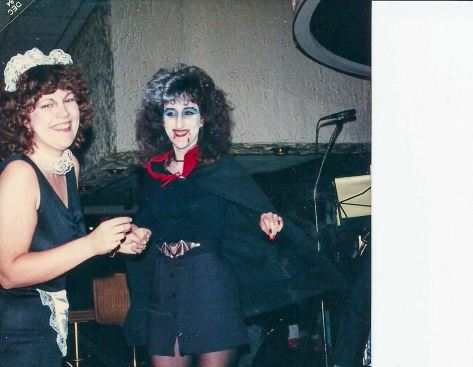 My friend Joannie and myself at a Halloween party many full moons ago. I am in the French Maid Outfit