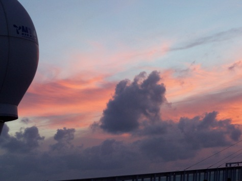 sunset from the ship. Photograph taken and copyrighted by Barbara Mattio
