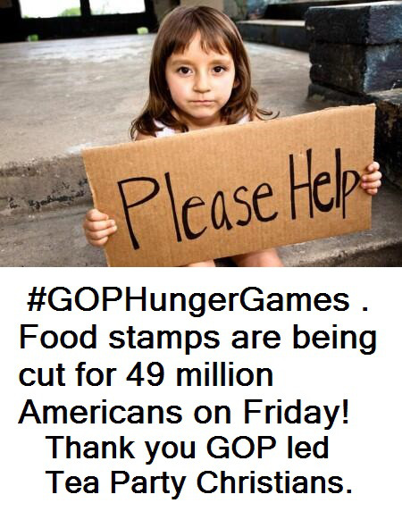 46 million Americans without food beginning tomorrow