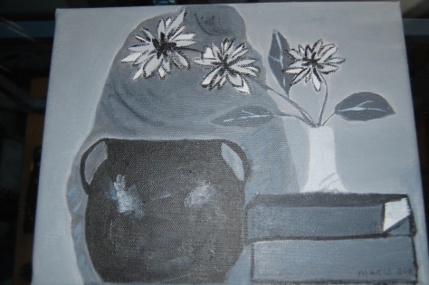Monochrome Still-life Acrylics on canvas by Barbara Mattio. Copyrighted 2008
