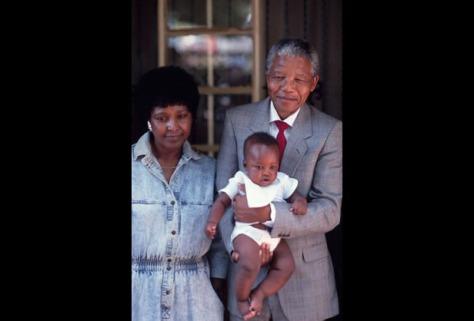 Nelson Mandela holding his granddaughter