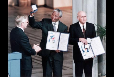 Nelson Mandela receiving Nobel Peace Prize