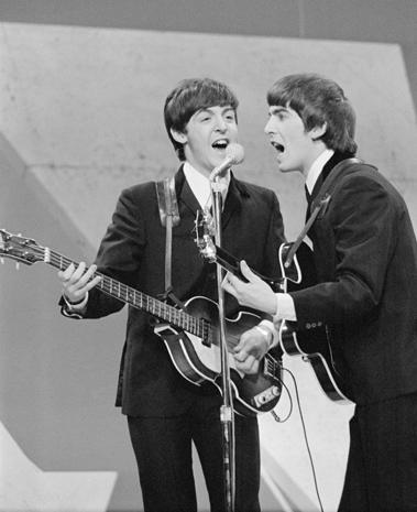 Paul McCartney and George Harrison at Ed Sullivan