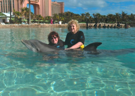 Jill the dolphin, myself and my sister Amy.