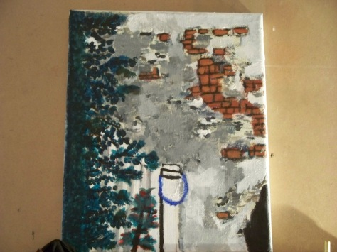 Acrylic painting of courtyard in the French Quarter. Painted and copyrighted 2009