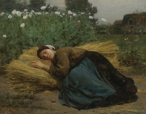 Jules Breton, Jeune Moissonneuse endormie sur des gerbes de ble, 1866, 14.25 x 18.25 inches