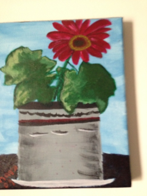 Gerber daisy. Acrylic paint Painted by Barbara Mattio  copyright 2009