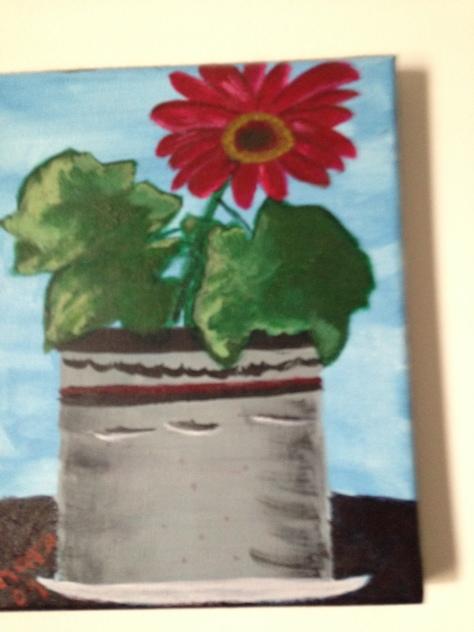 Gerber daisy. Acrylic paint Painted by Barbara Mattio  copyright 2009