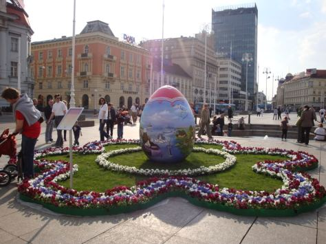 Easter time in Zagreb Croatia Ban Jelacic Square