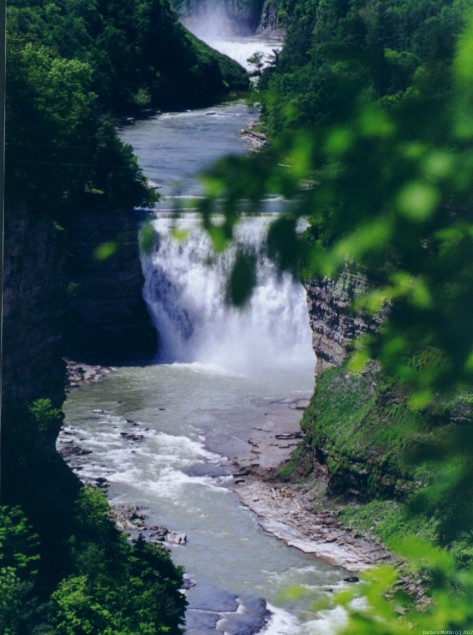 View of falls at Letchworth State Park, NY. Photograph taken and copyrighted by Barbara Mattio 2014