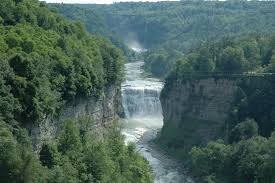 Upper Waterfall in Letchworth State Park. The Genesee River has formed a gorge. We must take care of the gifts from Mother Earth.