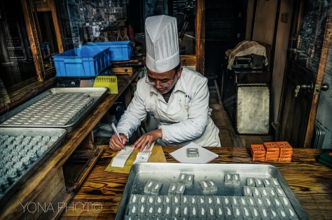 Pastry Chef in his cookie laboratory