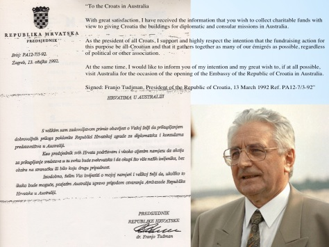 dr Franjo Tudjman's Letter March 1992 (Click image to enlarge)