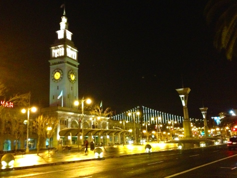 San Francisco's Embarcadero With Ferry Building and Bay Bridge