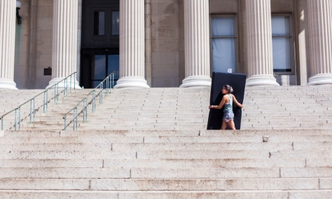Emma Sulkowicz is one of 23 students who filed a federal complaint over Columbia's mishandling of sexual misconduct cases. And Columbia is one of 67 schools facing such accusations. Photograph: Kristina Budelis for Guardian US Opinion