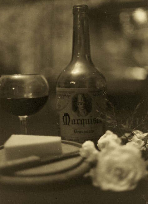 Sepia wine and cheese photographed and copyrighted by Barbara Mattio 2014