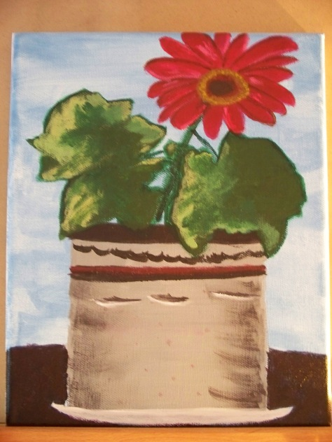 Gerber Daisy, grown and painted by Barbara Mattio. Acrylic paint on canvas, 2009