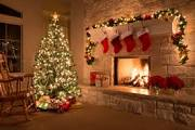 The holiday around the fireplace