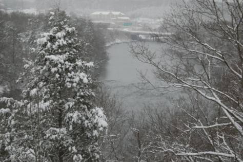 Friday 9 am from my balcony looking up river. Photograph and copyright by Barbara Mattio 2016