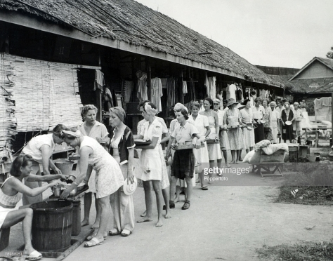 British female internees, probably nurses, being held by Japanese in Singapore.