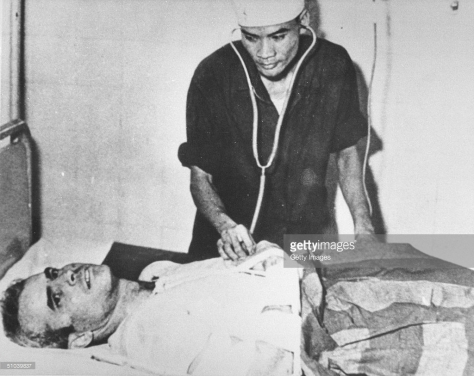 American Senator John McCain in hospital after is years of being a POW during the Vietnam War