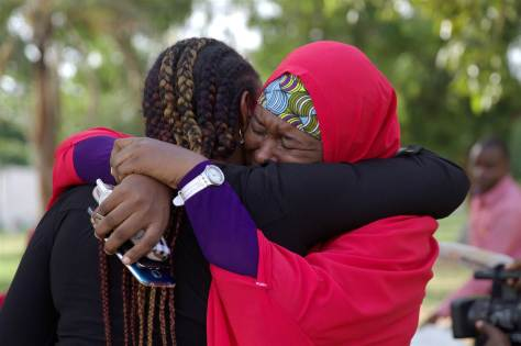 Members of the #BringBackOurGirls campaign embrace each other at a sit-out in Abuja, Nigeria Members of the #BringBackOurGirls campaign embrace each other at a sit-out in Abuja, Nigeria, on May 18, 2016, after hearing that a Nigerian teenager kidnapped by Boko Haram more than two years ago was rescued. Afolabi Sotunde / Reuters