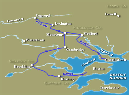 Map of Paul Revere's Ride