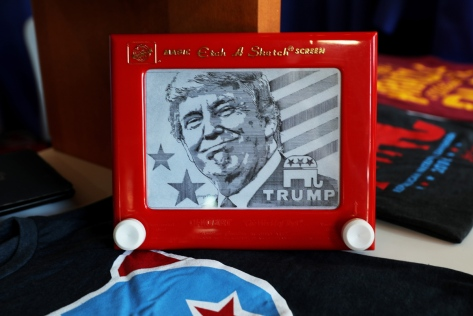 Trump on etch a sketch
