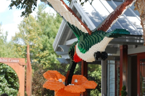 Lego Hummingbird Drinking from Flower Photograph and Copyright Barbara Mattio