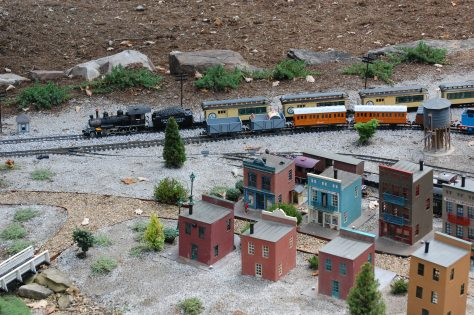 Two O gauge trains. Photography and copyright by Barbara Mattio, 2016