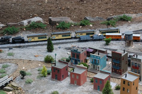 Train in the gardens. It is an O gauge. Photograph and copyright by Barbara Mattio,2016