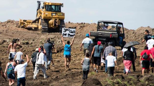 Protesters protesting pipeline going through sacred land