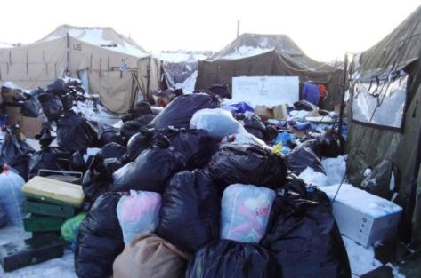 Supplies are piled up for the remaining activists that are left grappling with plunging temperatures that make conditions there more difficult at the protest camp in Cannon Ball, North Dakota, December 14, 2016. Picture taken December 14, 2016. REUTERS/Valerie Volcovici