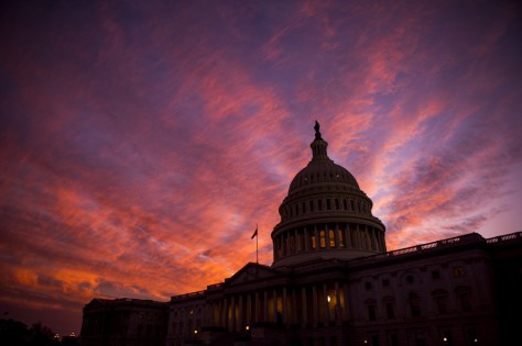 The sun sets at the U.S. Capitol as the 114th session of Congress comes to a close on Thursday, December 08. The House passed a spending bill to fund the government through April before heading home for the holiday recess. Getty