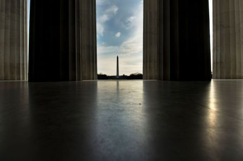 The Washington Monument is seen from the Lincoln Memorial on February 12. When it was completed in 1884, the Washington Monument was the tallest structure in the world, and it remains the tallest structure in Washington, D.C. Getty